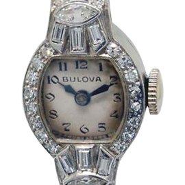 Vintage Bulova Platinum & Diamond Womens Watch
