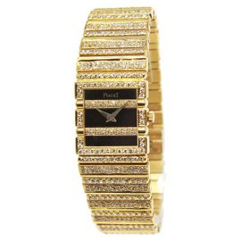 Piaget 8131 C 701 Polo 18K Yellow Gold Diamond Quartz Womens Watch