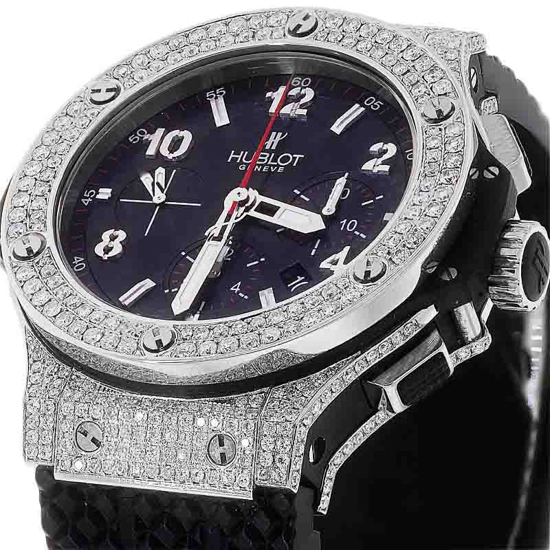"Image of ""Hublot Big Bang 301.sx.130.rx Diamond Carbon Dial Rubber Strap Watch"""