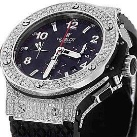 Hublot Big Bang 301.SX.130.RX Diamond Carbon Dial Rubber Strap Watch