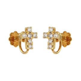 Van Cleef & Arpels Daimonds 18K Yellow Gold Cross Earrings