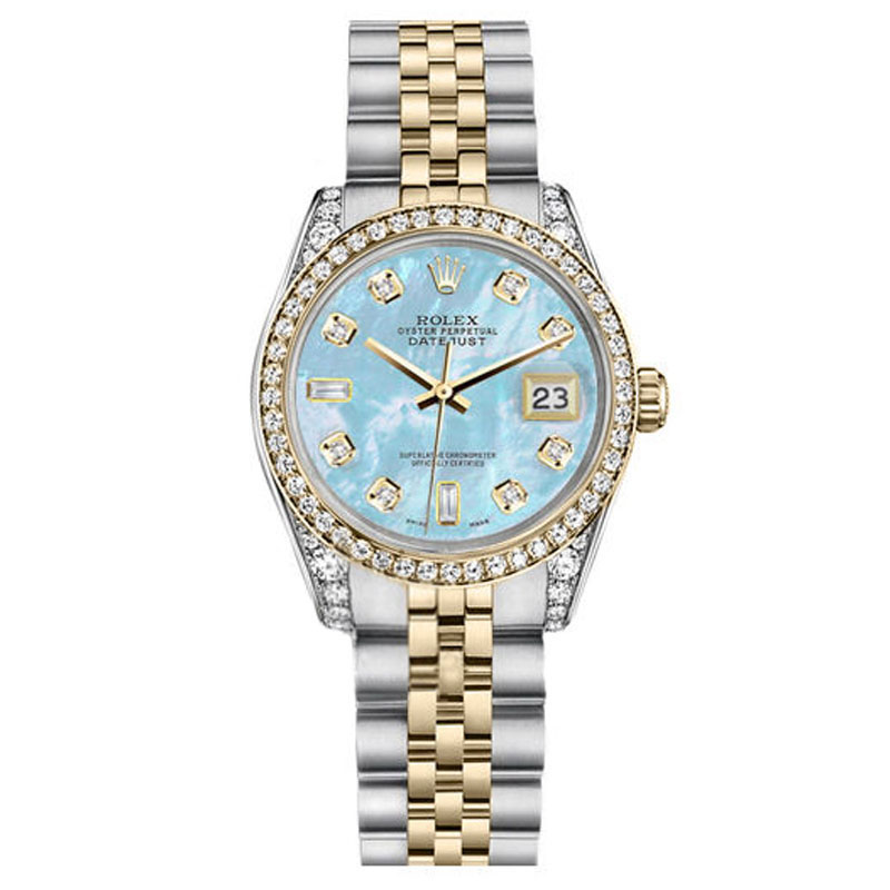 "Image of ""Rolex Datejust Steel Gold Baby Blue MOP 8+2 Diamond Dial Watch 26 mm"""