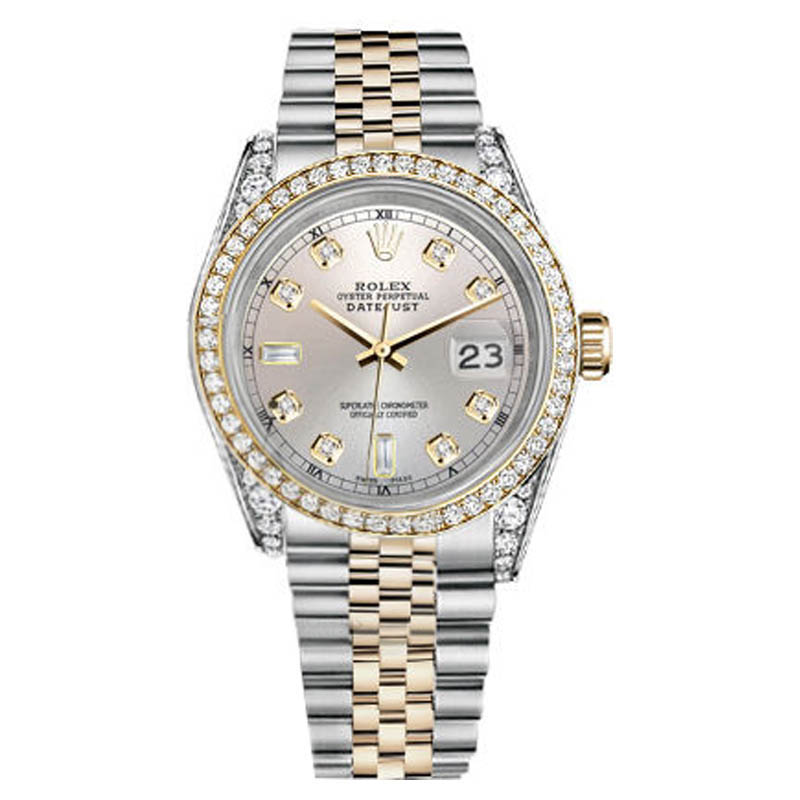 "Image of ""Rolex Datejust Stainless Steel And Gold Silver Color Diamond Dial 36"""