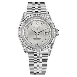Rolex Datejust Silver Diamond String Dial Jubilee Bracelet 36mm Watch
