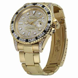 Rolex GMT-Master II 18K Yellow Gold Diamond-Paved Dial Diamond Watch 40mm