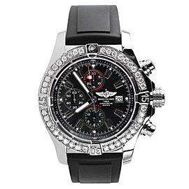 Breitling Super Avenger A13370 Chronograph Black Dial Diamond Men's Watch 48mm