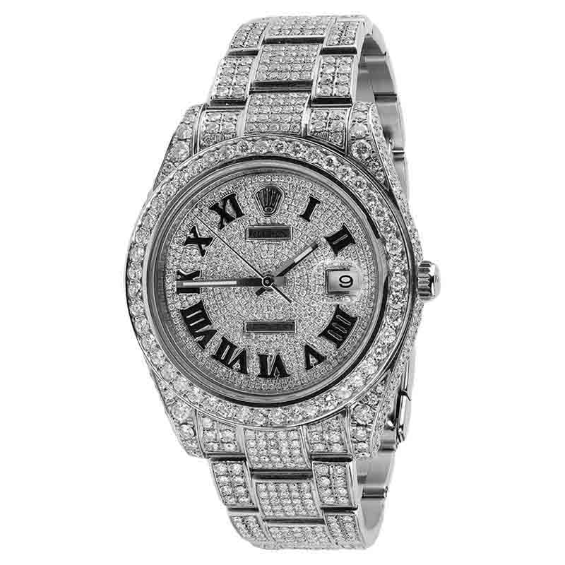 "Image of ""Rolex Datejust II Stainless Steel Roman Numerals Diamond 41mm Watch"""