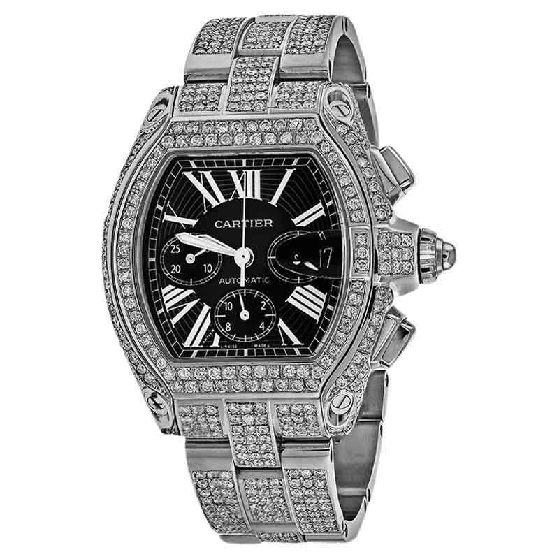 "Image of ""Cartier Roadster XL W62020X6 23.00Ct Diamond Black Dial Stainless"""