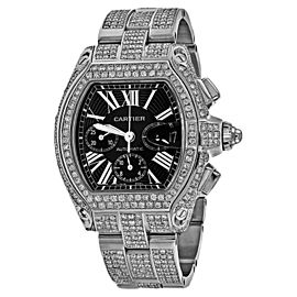 Cartier Roadster XL W62020X6 23.00Ct Diamond Black Dial Stainless Steel Watch