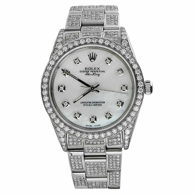 """Image of """"Rolex Air-King Stainless Steel Diamond Unisex 34mm Watch"""""""