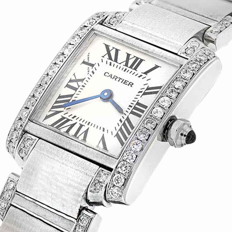 "Image of ""Cartier Tank W51008Q3 with Natural Diamonds Small Stainless Steel"""