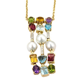 18K Yellow Gold 22.18ct Diamonds Pearls & Multi-Color Gems Drop Pendant Necklace