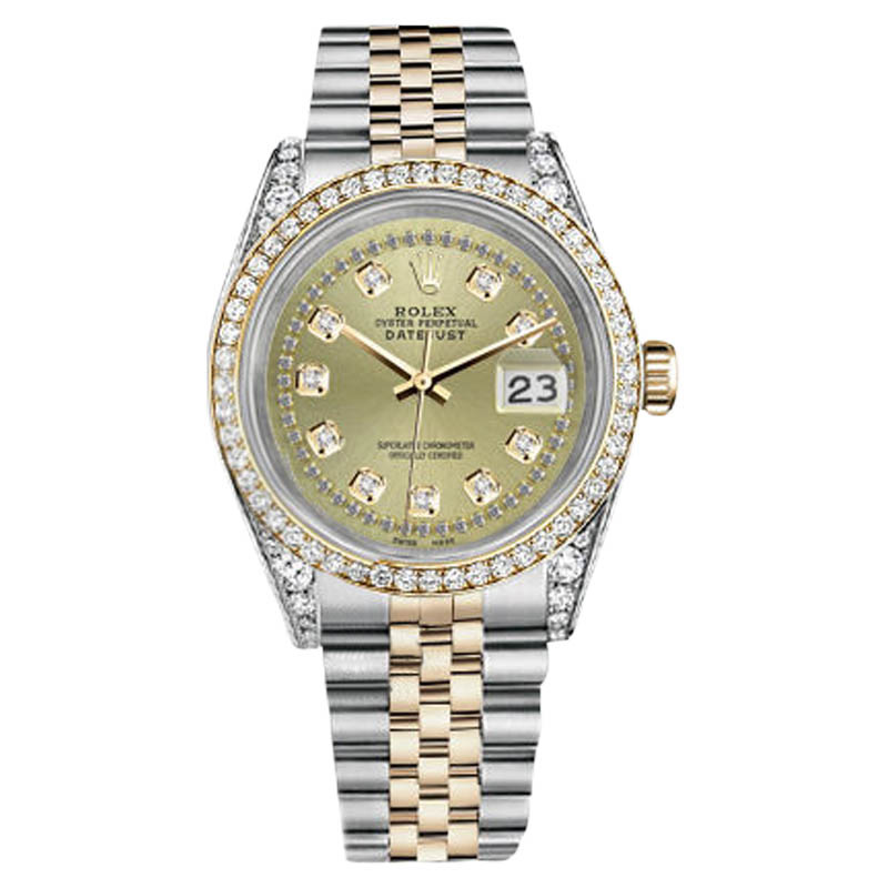 "Image of ""Rolex Stainless Steel - Gold 36 mm Datejust Champagne String Diamond"""