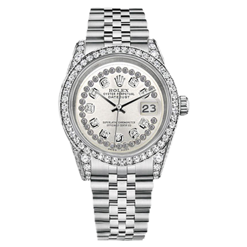"""Image of """"Rolex Datejust 36mm Stainless Steel Silver String Diamond Dial Watch"""""""