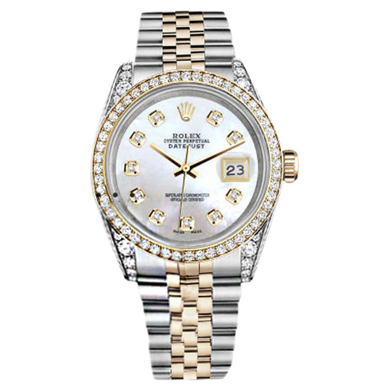 """Image of """"Rolex Stainless Steel-Gold 36 mm Datejust White MOP Color Diamond Dial"""""""