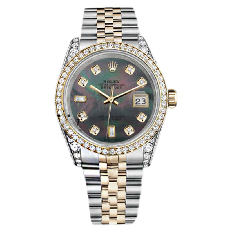 """Image of """"Rolex Stainless Steel and Gold 36 mm Datejust Black MOP 8+2 Diamond"""""""
