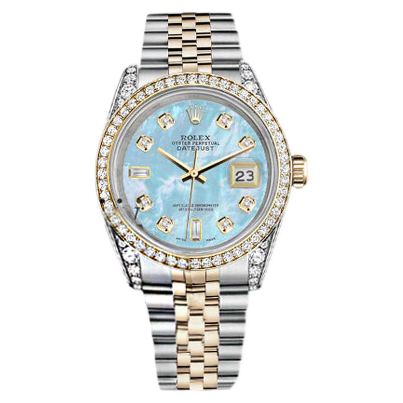 """Image of """"Rolex Stainless Steel - Gold 36 mm Datejust Baby Blue MOP 8+2 Diamond"""""""