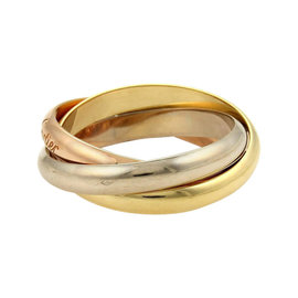 Cartier Trinity 18K Tri-Color Gold Rolling Bands Ring 10