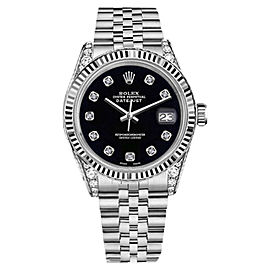 Rolex Datejust Black Color Dial with Diamond Accent Woman's 26mm Watch