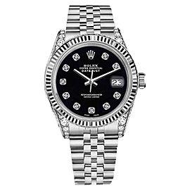 Rolex Datejust Black Color Dial 8 + 2 Diamond Accent Men's Watch 36mm
