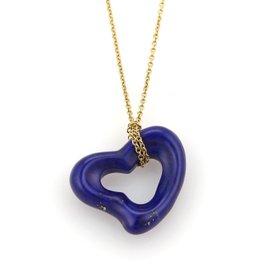 Tiffany & Co. Elsa Peretti 18K Yellow Gold Lapis Open Heart Pendant Necklace