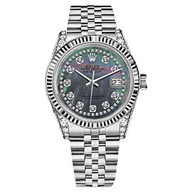 Rolex 36mm DatejustBlack MOP Mother of Pearl String Diamond Accent Dial Watch