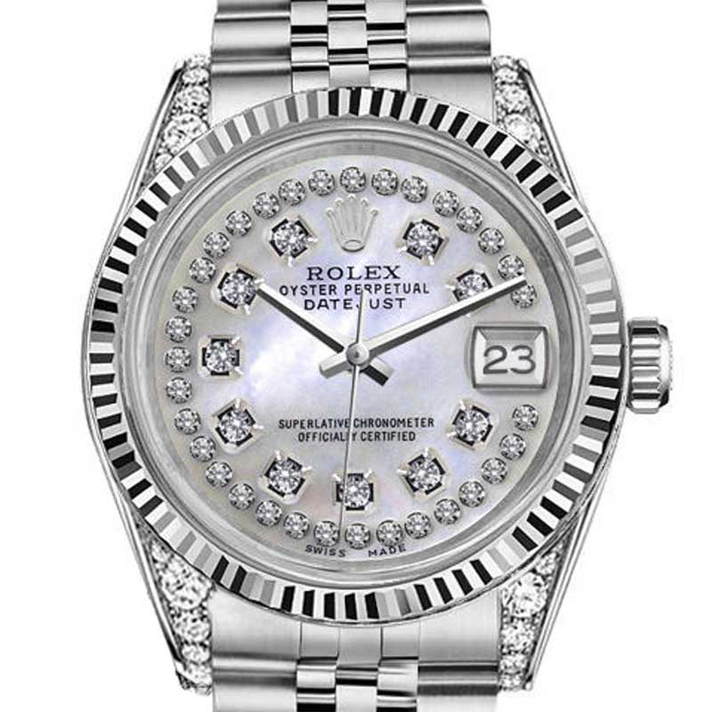 """Image of """"Rolex Datejust White MOP Mother Of Pearl String Diamond Dial 26mm"""""""