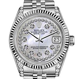 Rolex Datejust White MOP Mother Of Pearl String Diamond Dial 26mm Woman's Watch
