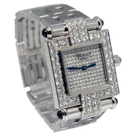 Chopard Imperiale 38/3448-23 18K White Gold Diamond & Sapphire Womens Watch