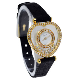 Chopard Happy Heart 5231 18K Yellow Gold & Diamonds Skeleton Quartz Womens Watch