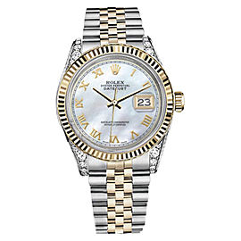 Rolex Datejust 2Two Tone White MOP Mother Of Pearl Roman Numeral Dial Watch 36mm