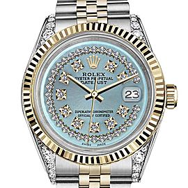 Rolex Datejust 2 Tone Ice Blue String Diamond Dial Woman's 26mm Watch