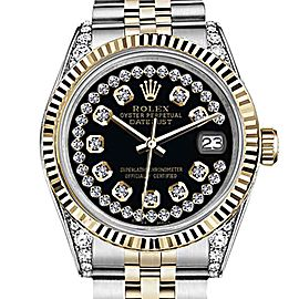 Rolex Datejust 2 Tone Glossy Black String Diamond Accent Dial 31mm Ladies Watch