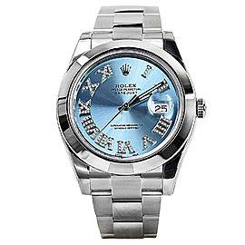 Rolex Datejust II 116300 Men's 41mm Ice Blue Stainless Steel Date Watch
