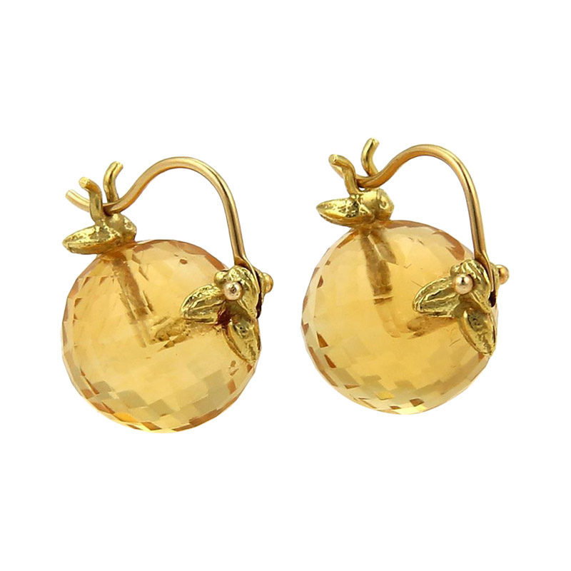 "Image of ""Lalaounis Faceted Citrine Balls Leaf Design Hook Drop Earrings"""