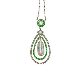 Platinum Emerald & Diamond Art Deco Pendent Necklace