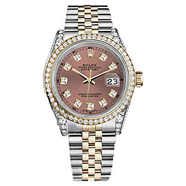 Rolex Datejust Stainless Steel and Gold Salmon Diamond Dial Unisex Watch 36 mm