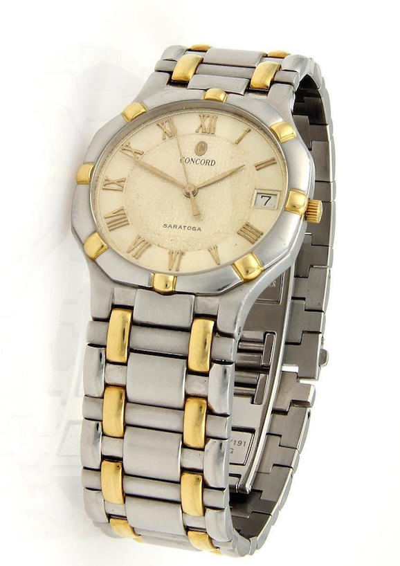 "Image of ""Concord Saratoga Date Quartz 18K Yellow Gold & Stainless Steel Watch"""