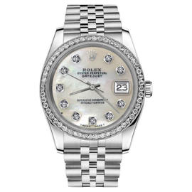 Rolex Datejust White MOP Mother Of Pearl Diamond Dial Unisex 36mm Watch
