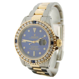 Rolex Submariner 16613 Gold Steel Diamond Bezel Mens Watch