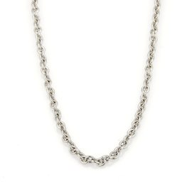 Bulgari 18K White Gold Rolo Link Chain Necklace