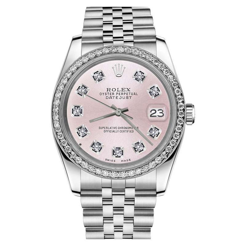"""Image of """"Rolex Datejust 36mm Stainless Steel Metallic Pink Diamond Dial Womens"""""""