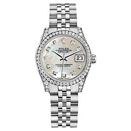 Rolex Datejust Steel 26mm White MOP Mother Of Pearl Diamond Dial Womens Watch