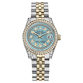 Rolex Datejust Steel and Gold Ice Blue String Diamond Dial Watch 26mm