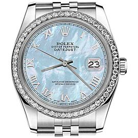 Rolex Datejust Baby Blue Mother Of Pearl Roman Numeral Dial 31mm Watch