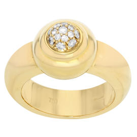 Chopard 18K Yellow Gold and Diamond Pave Ring Size 6.5