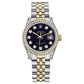Rolex Datejust Stainless Steel And Gold Purple Diamond Dial Unisex 26 mm Watch
