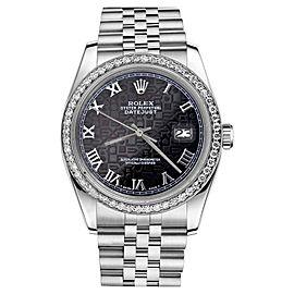 Rolex Datejust Black Jubilee Roman Numeral Dial Womens 36mm Watch