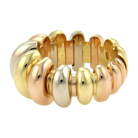 Bvlgari Bulgari 18K Tri-Color Gold Fancy Design Tapered Open Band Ring