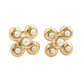 Chanel 18K Yellow Gold Classic Pearl & Fancy Design Earrings